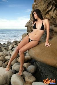 Hot Brunette In Black Bikini 03
