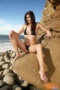 Hot Brunette In Black Bikini 07