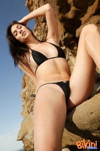 Hot Brunette In Black Bikini 08