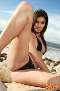 Hot Brunette In Black Bikini 10