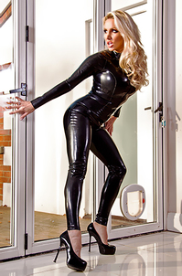 Dannii Harwood Black Leather Outfit