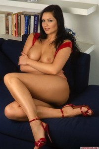 Nice Titted Brunette In Red  08