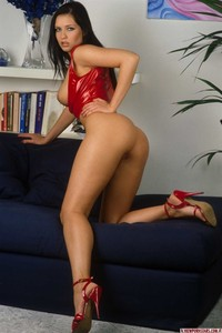 Nice Titted Brunette In Red  09